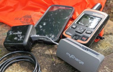Dual USB outlet charger, battery pack, cell phone, and inReach